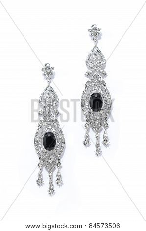 Silver Earrings With Onyx On A White Background