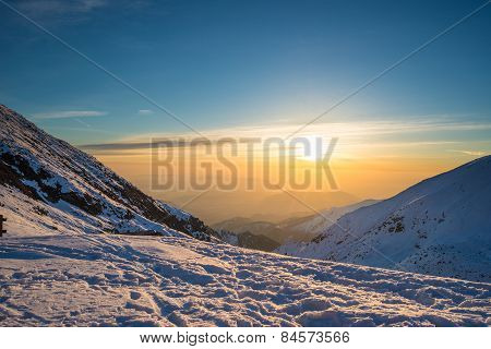 First Sun Glowing The Alps
