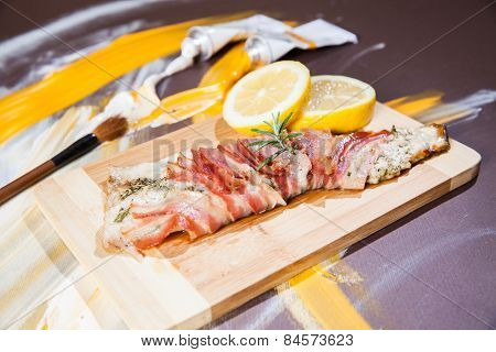 Fish Dish - Fried Trout Fish With Bacon