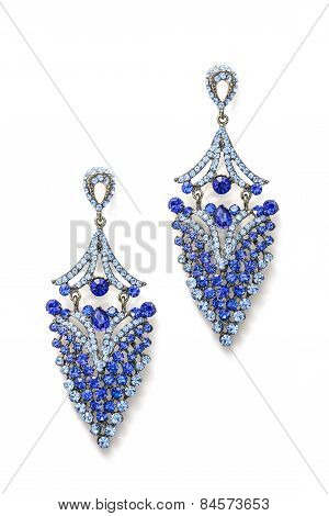 Earrings With Blue Stones Isolated On White Background