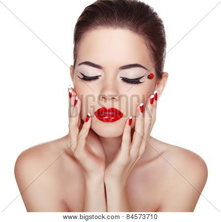Makeup. Manicured Nails. Attractive Girl With Red Lips Isolated On White Background. Studio Shot Of