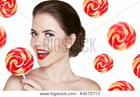 Happy Smiling Girl Holding Colorful Lollipop Isolated On White Background With Sweet Candies. Sweet