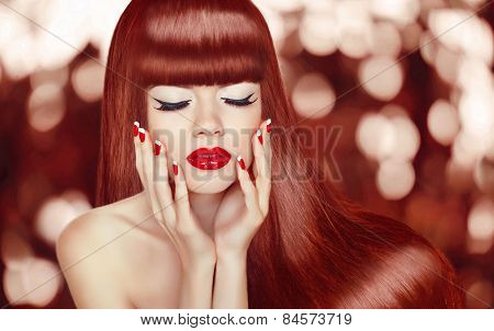 Beautiful Girl With Long Hair. Fashion Woman Portrait. Makeup. Manicured Nails. Healthy Glossy Red H