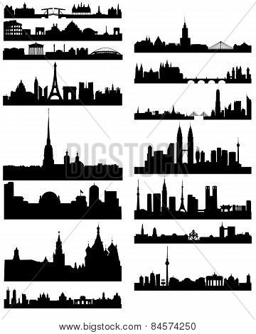 Black Silhouette Of Famous Cities