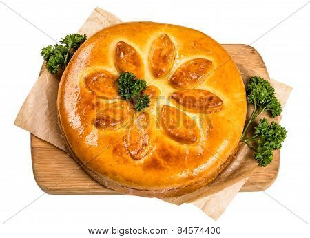 Big Round Pot On Paper And Wooden Board On White Background