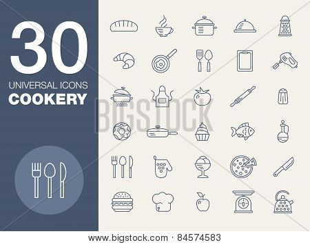 Kitchen seamless pattern 30 icon set