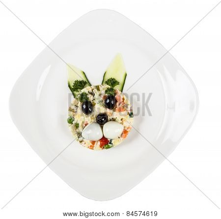 Restourant Serving Dish For Child`s Menu - Salad With Rabbit Face