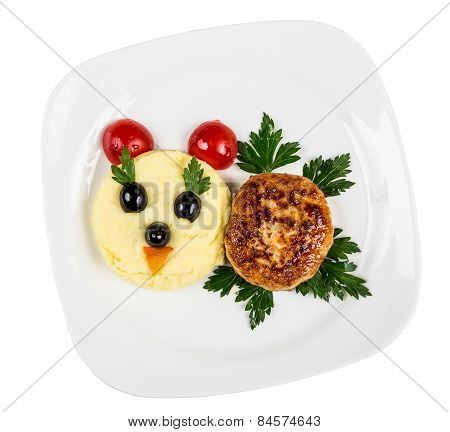 Restourant Serving Dish For Child`s Menu - Potato Puree, Cutlet With Face On White Background