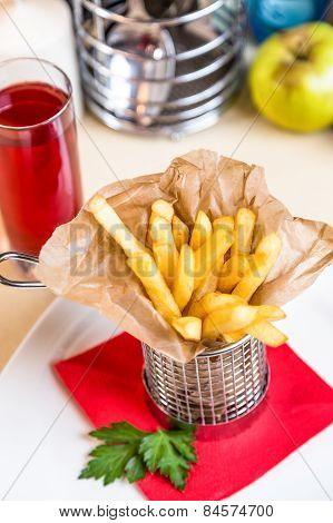 Restourant Serving Dish For Child`s Menu - Stick Potatos Roast Free