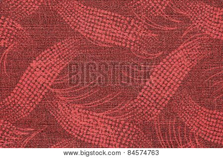 Fabric Of Red Color With An Abstract Pattern