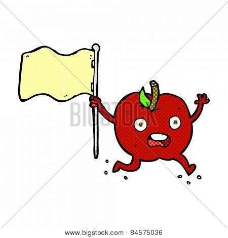 retro comic book style cartoon funny apple with flag