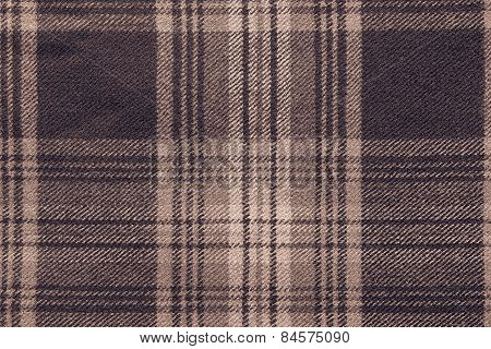 Brown Woolen Fabric With An Checkered Pattern
