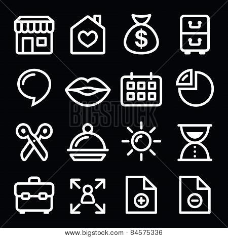 Website menu navigation white line icons on black