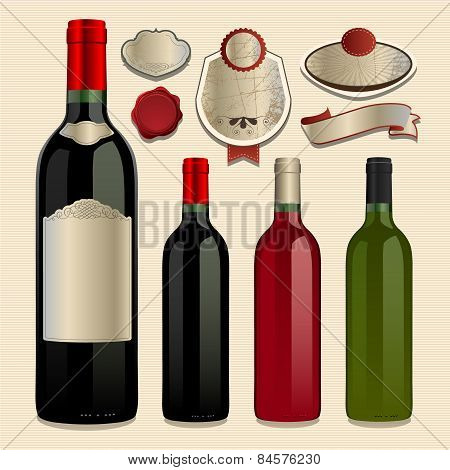 Bottle of Wine and Vector Labels