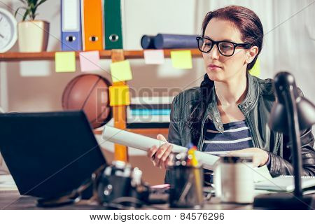 Hipster women in the office with glasses