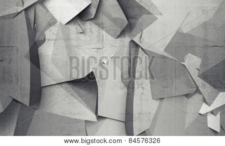 Abstract Chaotic Polygonal Fragments On Gray Concrete Wall