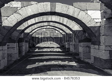 Interior Of Empty Corridor With Arcs. Ancient Smyrna. Izmir