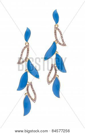 Earrings Inlaid With Precious Stones On A White Background