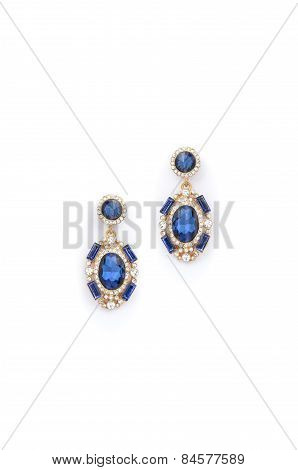 Earrings With Sapphire  On White Background