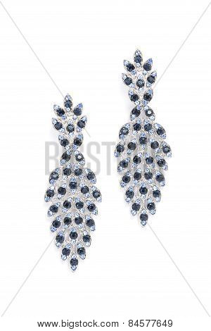 Earrings With Onyx On A White Background