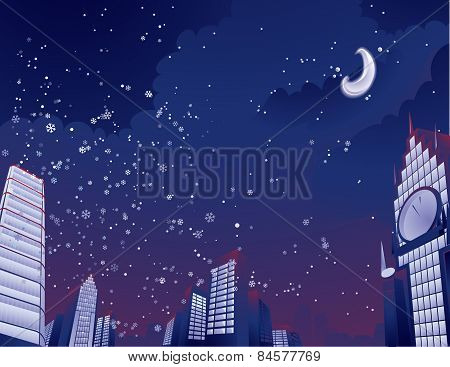 Night city landscape Vector illustration