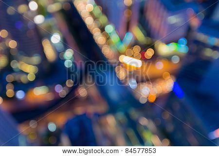 Blurred abstract background lights, city view from top roof