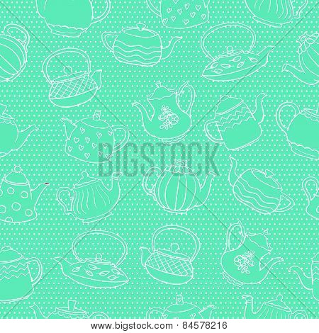 Seamless vector pattern with cute freehand teapots