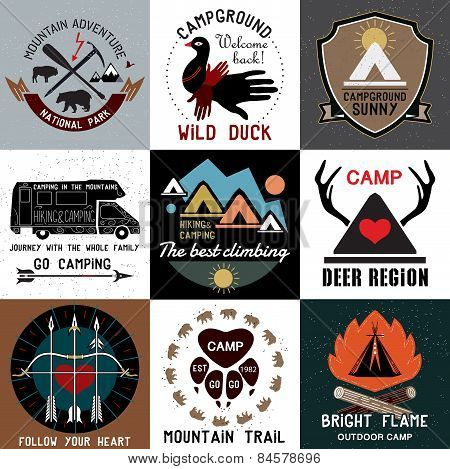 Set of vintage camping logo.