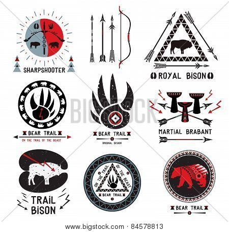 Set of vintage hunting, ethnics logo and design elements