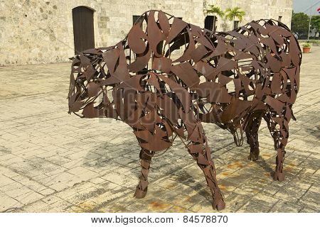Exterior of the Iron Bull artwork at Santo Domingo Colonial Zone in Santo Domingo.