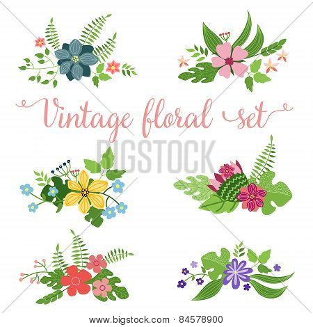 flowers vector design. Set of floral icon