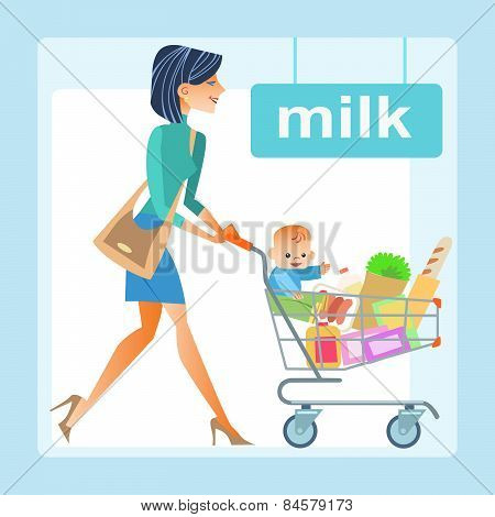 mom hopping cart baby store