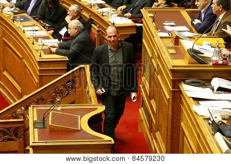 Finance Minister Yanis Varoufakis during his speech in the Greek Parliament