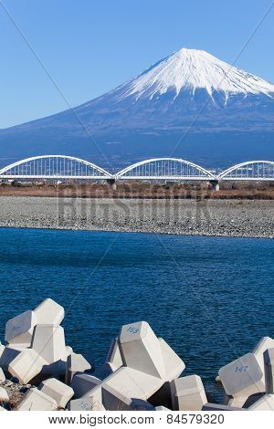 Mountain Fuji and Fujikawa river