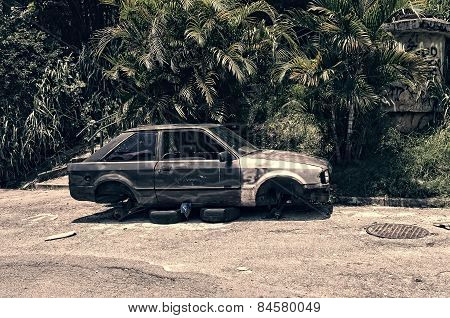 Car Broken, Crumpled And Abandoned