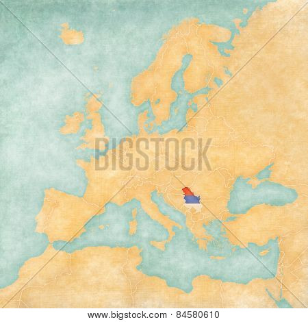 Map Of Europe - Serbia (vintage Series)
