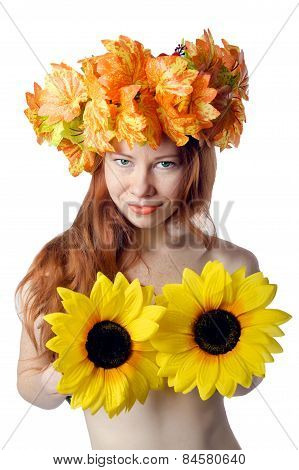 Topless Redhead Girl With A Wreath Of Colorful Flowers