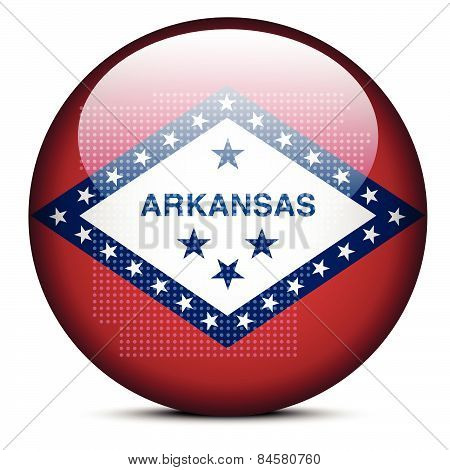 Map With Dot Pattern On Flag Button Of Usa Arkansas State