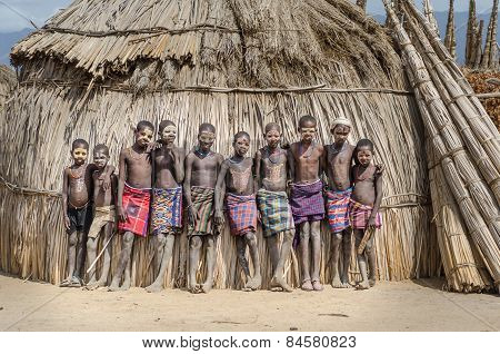 Portraits Of Unidentified Boys From Arbore Tribe, Ethiopia