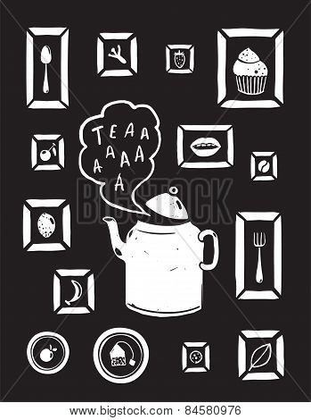 Teapot Drinking Tea and Cooking Art Frames on Black