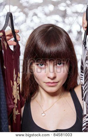 Beautiful Teenage Girl And Her Wardrobe, With Bokeh