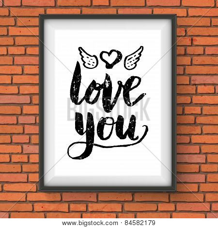 Love You romantic card or poster design