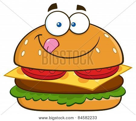 Hungry Hamburger Cartoon Character Licking His Lips