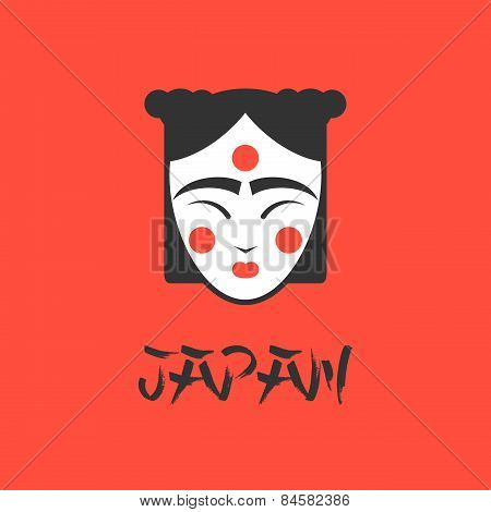 stylized vector illustration of a beautiful geisha girl face