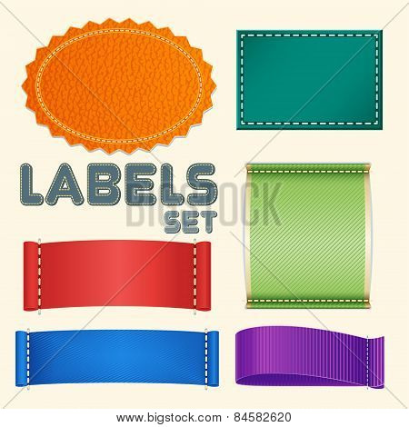 Collection of Five Colorful Blank Labels or Badges with Copyspace