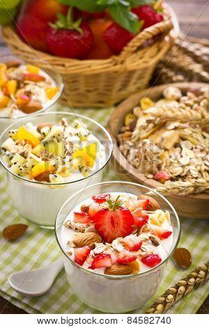 Healthy breakfast with yogurt granola, and fruit