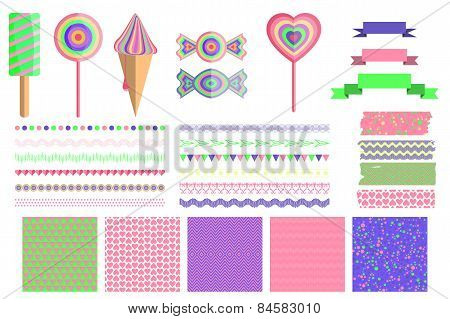 Set of 4 cute abstract seamless pattern and design elements