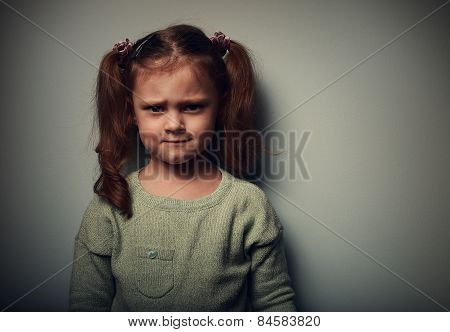 Sad Alone Kid Girl With Frustration Look. Closeup Portrait