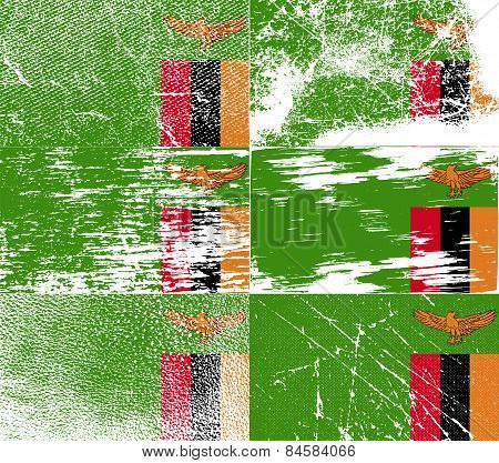 Flag Of Zambia With Old Texture. Vector