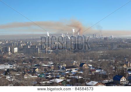 View from Mount High to Nizhny Tagil. Sverdlovsk region. Russia.
